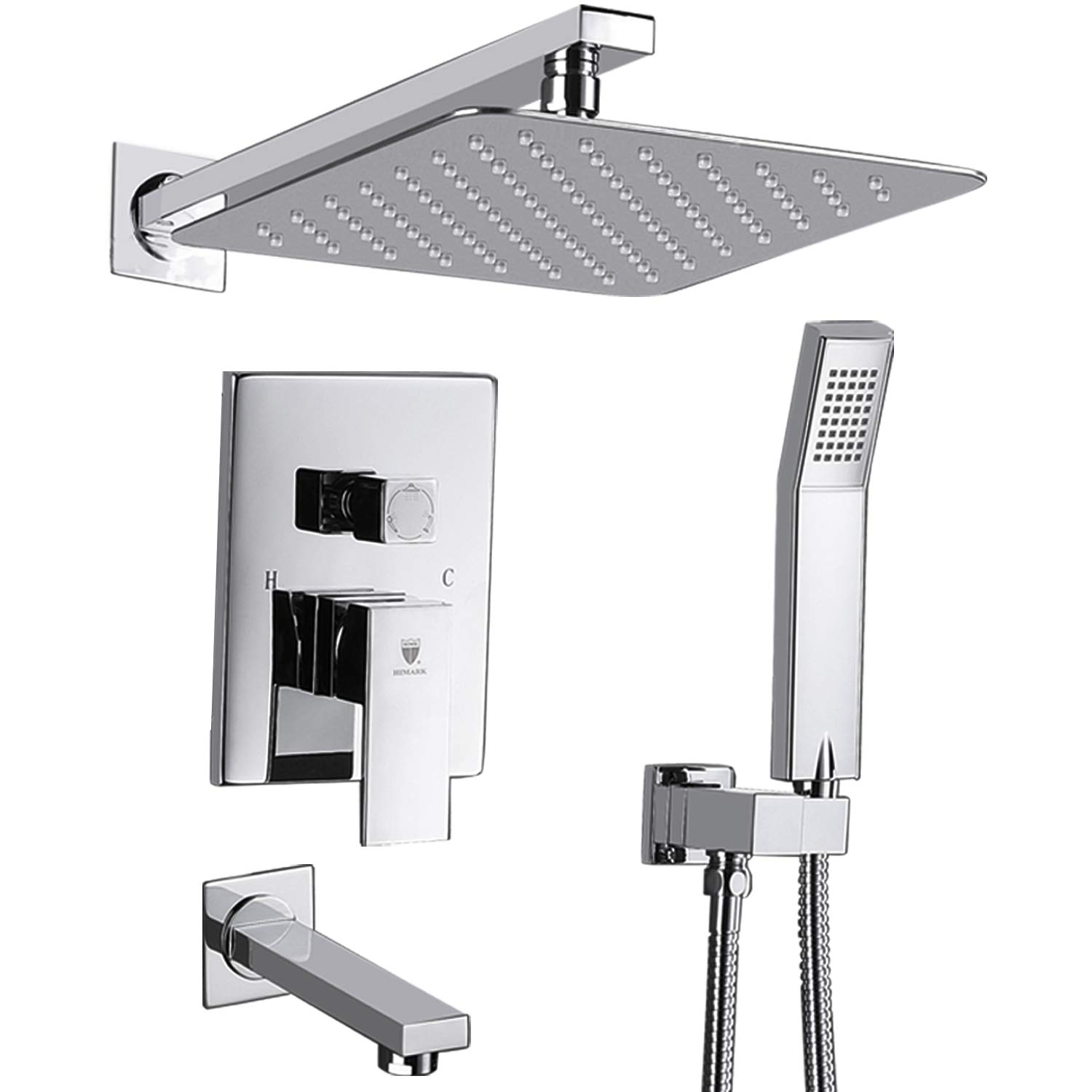 HIMK Shower System, Shower Faucet Set with Tub Spout and 10'' Rain Shower Head Wall Mounted Shower Set (Contain Shower Faucet Rough-In Valve),Chrome