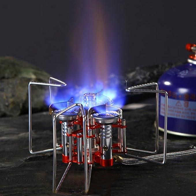 Al aire libre guerreros 5800 W portátil tres quemadores Estufa Cartucho de aluminio inoxidable al aire libre Split Gas Estufa de Camping plegable horno de ...
