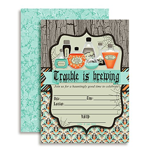 Trouble is Brewing Spooky Potions Halloween Party Invitations, Ten 5