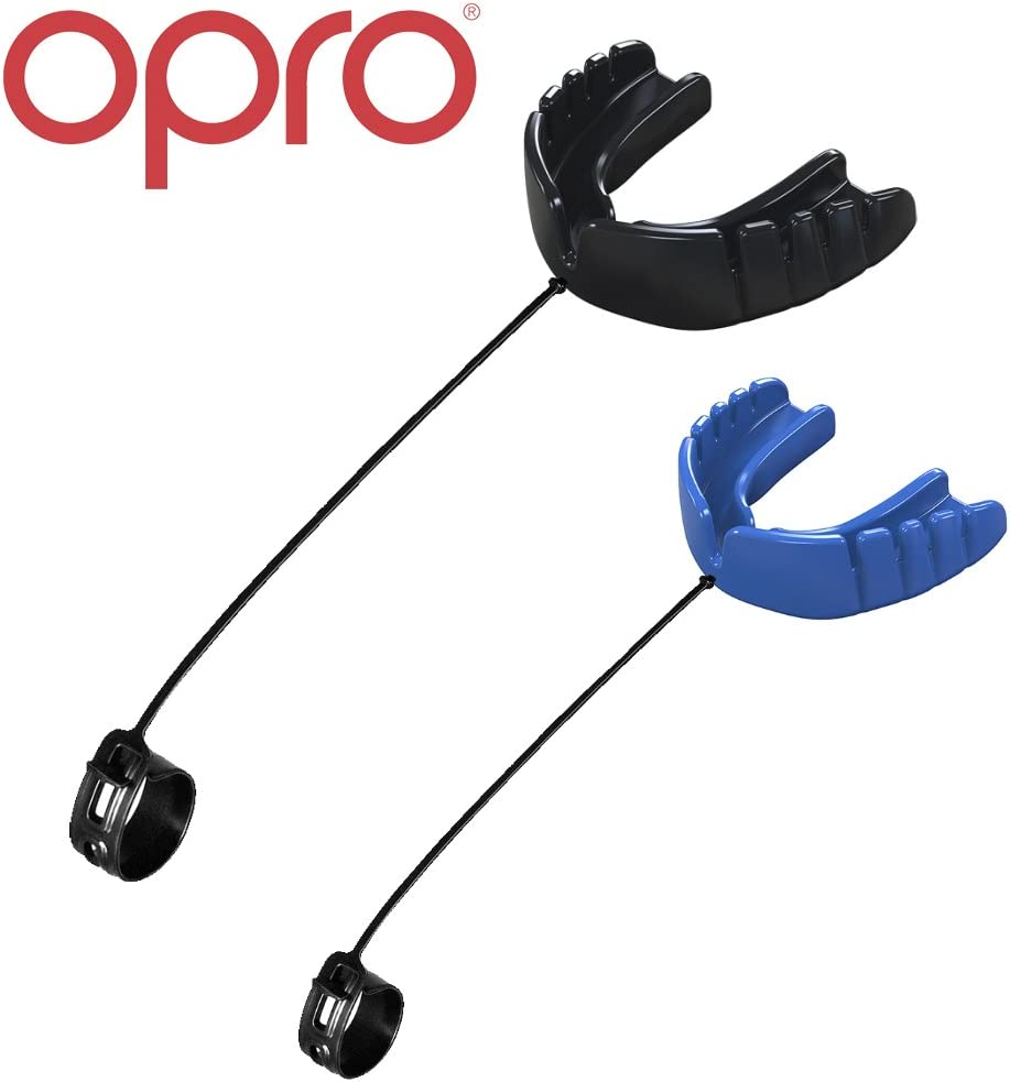 OPRO Snap-Fit Mouthguard | Gum Shield + Strap for Ball, Combat and Stick Sports -18 Month Dental Warranty (Adult and Kids Sizes) (Twin Pack (Black + Blue), Adult)