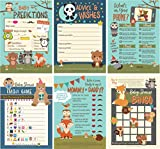 6 Baby Shower Games with Woodland Animals, Gender Neutral for Boy or Girl, 3 Double-Sided Game Sheets for 25 Shower Guests