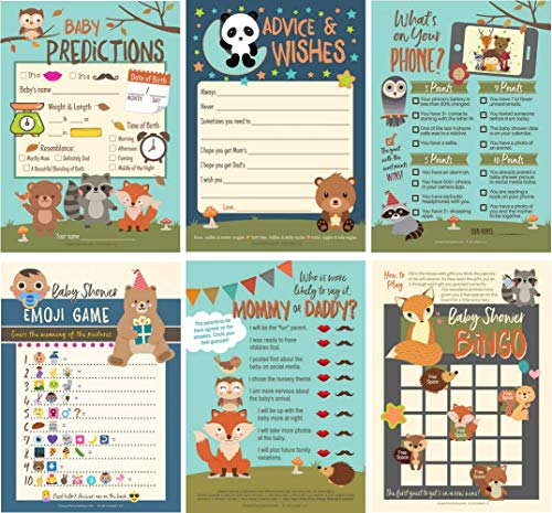 6 Baby Shower Games with Woodland Animals, Gender Neutral for Boy or Girl, 3 Double-Sided Game Sheets for 25 Shower Guests by JB Cooper