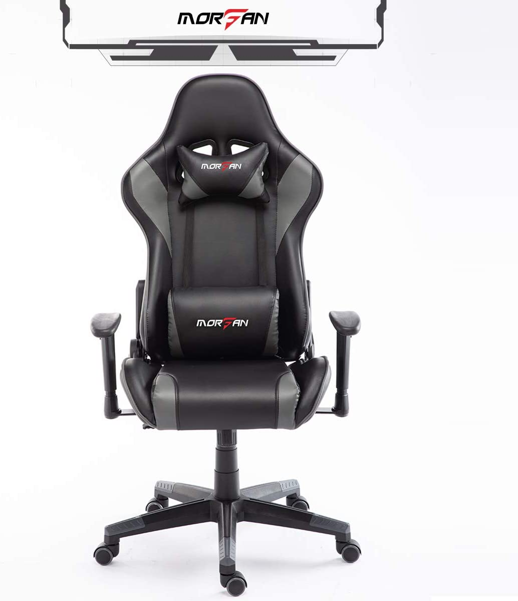 Morfan Computer Desk Chair for Game Fashion and Ergonomic Massage Rocking Function E-Sports Racing Chair with Free Headrest Pillow Lumbar Cushion F Series Grey