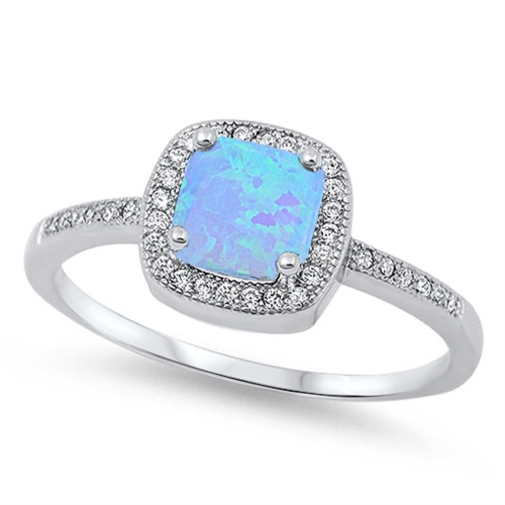 CloseoutWarehouse Princess Halo Light Blue Simulated Opal Ring Sterling Silver Size 8