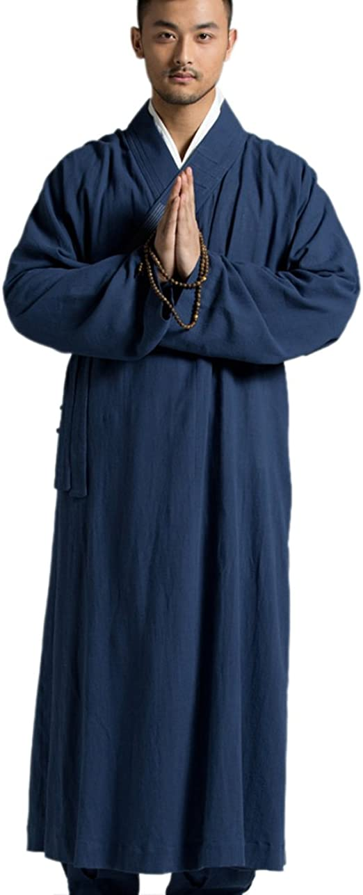 Buddhist Monk Meditation Warm Fleece Lined Long Robe Gown Shaolin Kung Fu Suit