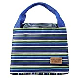Homecube Tri-color Stripe Lunch Bag Reusable Lunch Box Fashion Tote Bag Grocery Holder Canvas Organizer Cold Insulation Container with Zipper and Handle (Blue)
