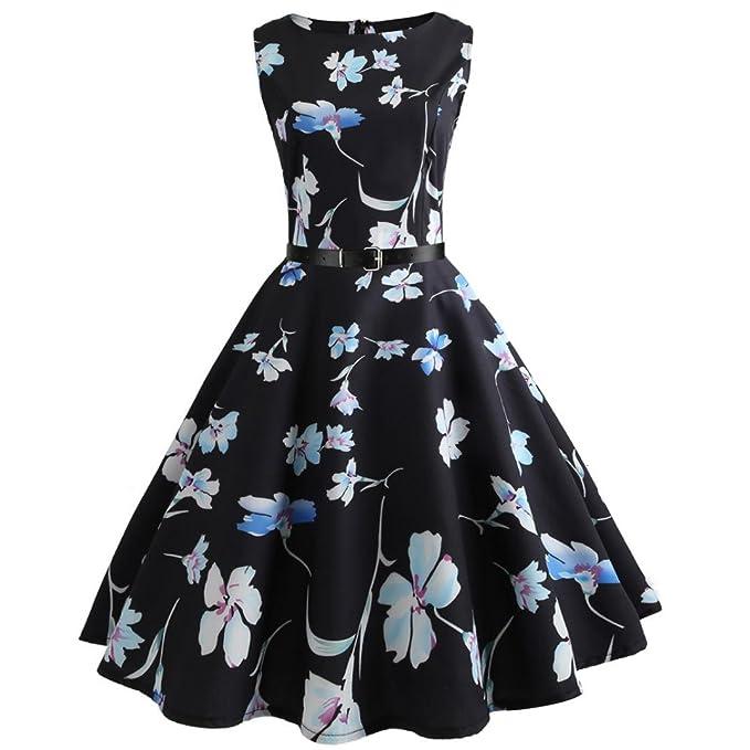 Vestidos Vintage Mujer AñOs 50 LHWY, Vestidos Ajustados Con Estampado De Floral Vestidos Con CinturóN