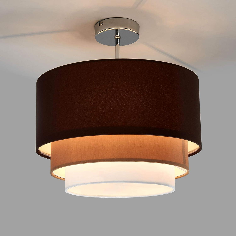 Lampenwelt Deckenlampe 'Jayda' dimmbar (Modern) in Braun aus Textil u.a. für Wohnzimmer & Esszimmer (1 flammig -