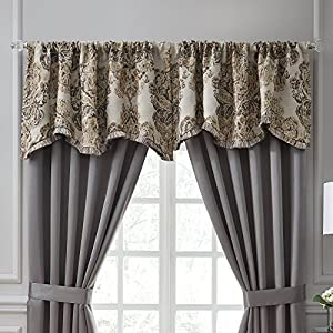 Veratex Devonshire Collection Contemporary Style Polyester Bedroom Scallop  Window Valance Curtain, Brown