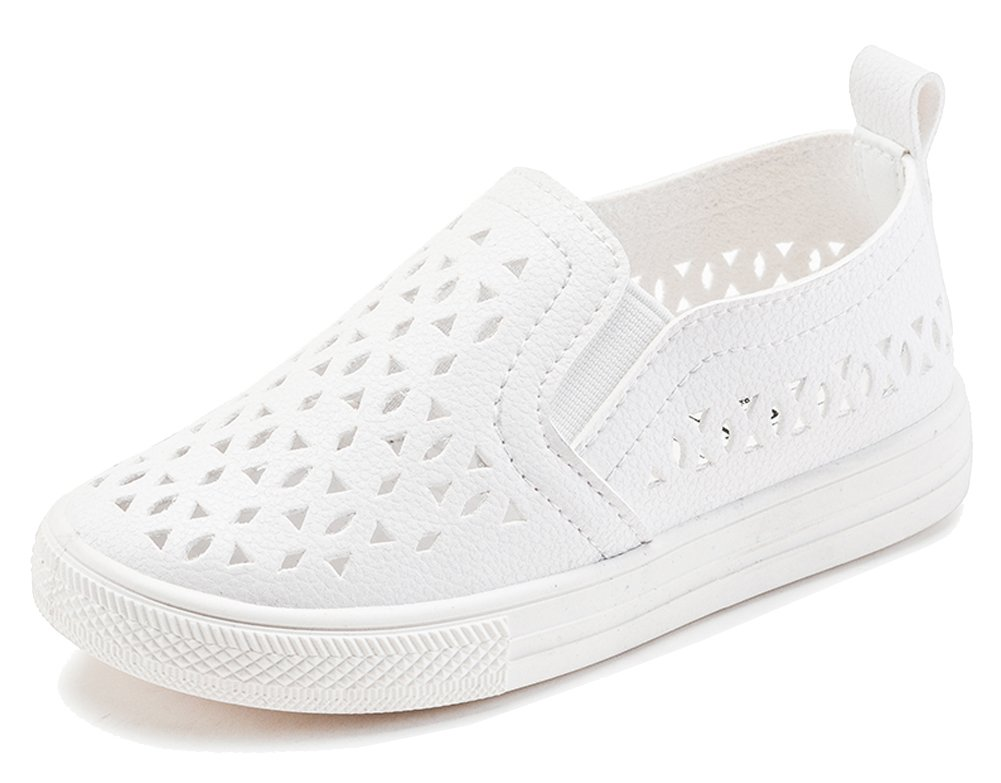 iDuoDuo Boys Girls Casual Hollow Out Leather Flats Summer Loafers Sneakers White 11 M US Little Kid