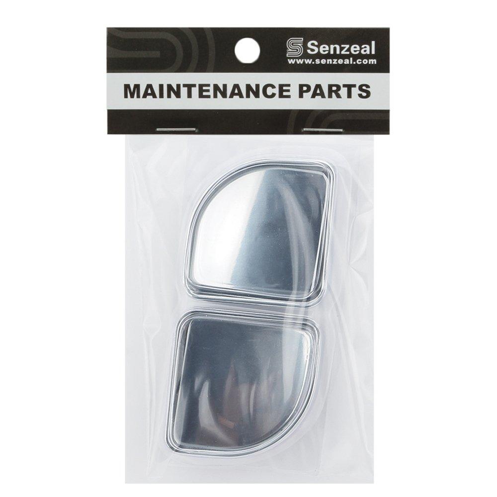 Senzeal 2pcs Fan Shaped Adjustable Blind Spot Mirrors 360 Degree Rear View Car Mirror Silver