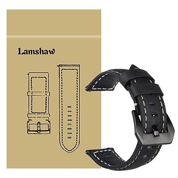 Lamshaw Premium Vintage Leather Band Replacement Straps for ZTE Quartz Smartwatch (Vintage-New Leather-Black)