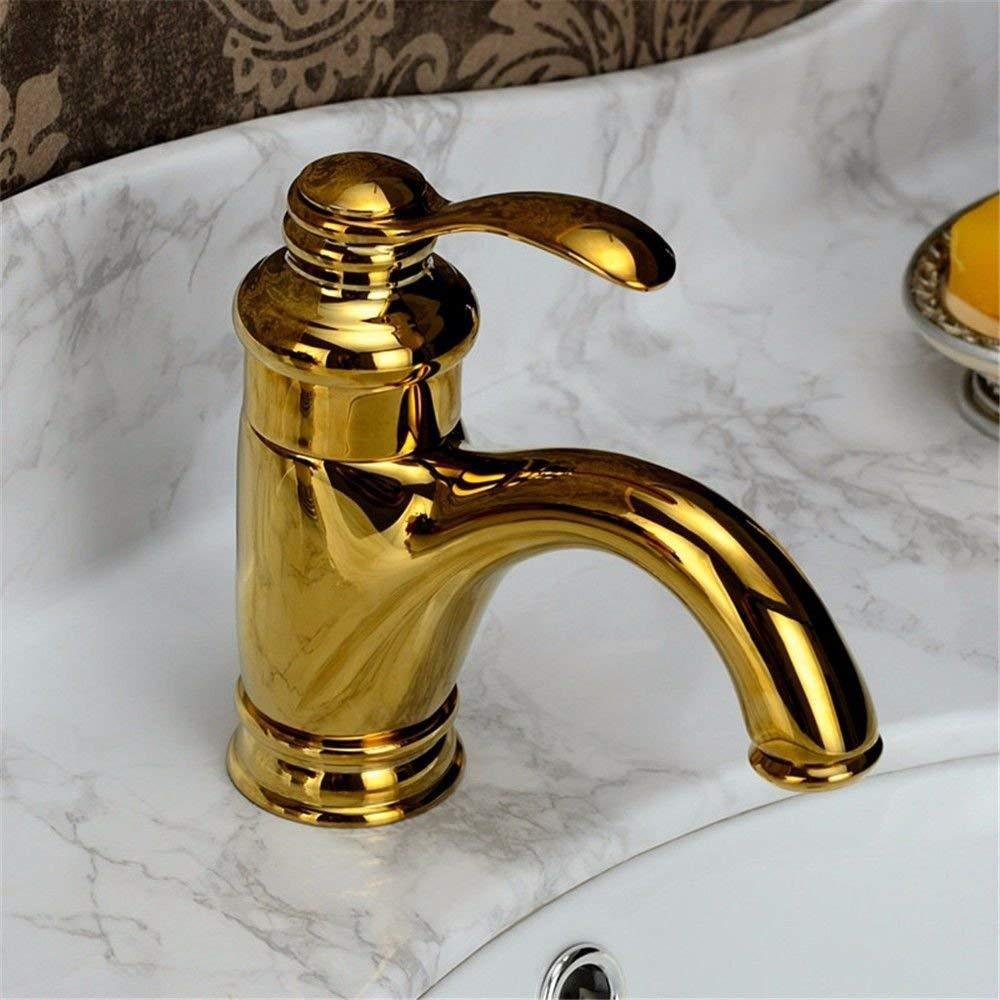 FERZA Home Waschbecken-Mischbatterie Badezimmer-Küche-Becken-Hahn auslaufsicher speichern Wasser Gold Heißes und kaltes volles Kupfer-Antik-Titan-Gold überzogen