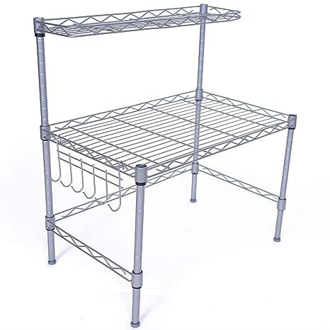 Amazon.com: JS Home Horno Microondas rack, soporte para ...