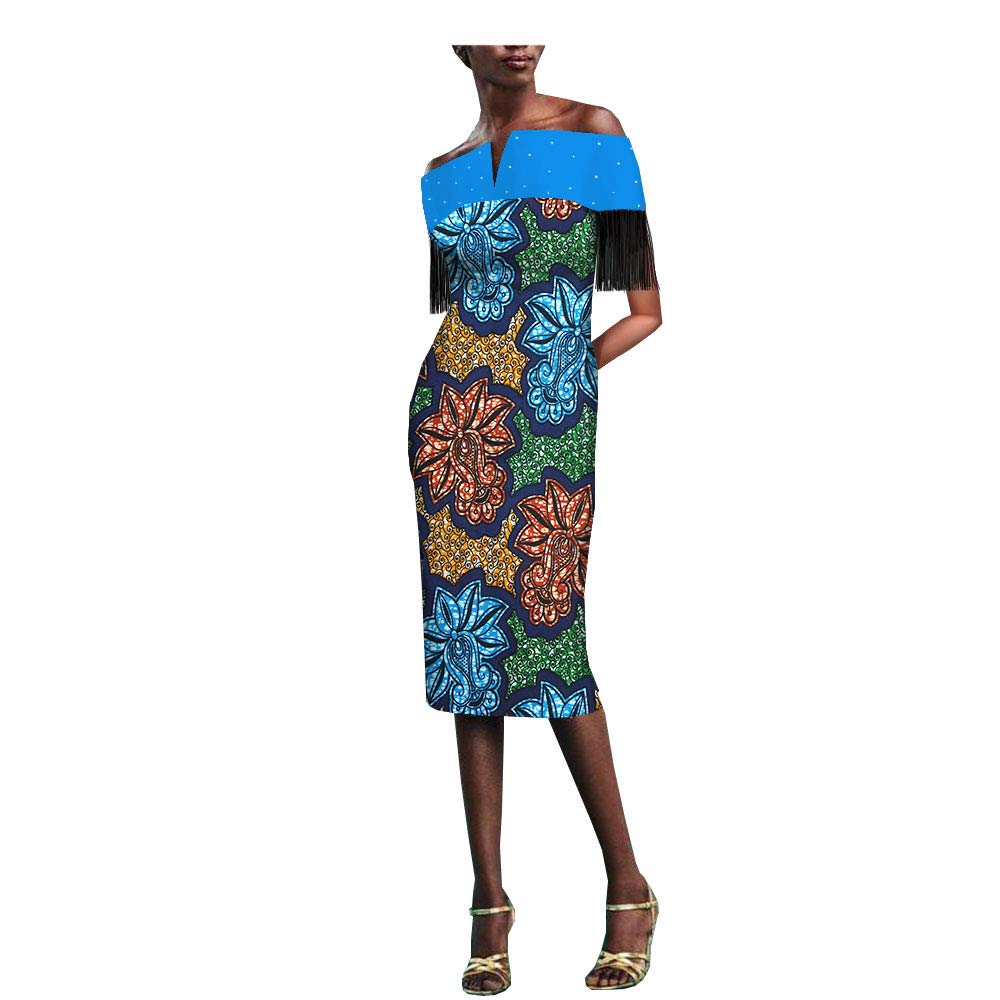 4471j African Ankara Print Women Dress with Tassel and Rhinestone Slash Neck Knee Length 100% Batik Cotton Made AA1825077