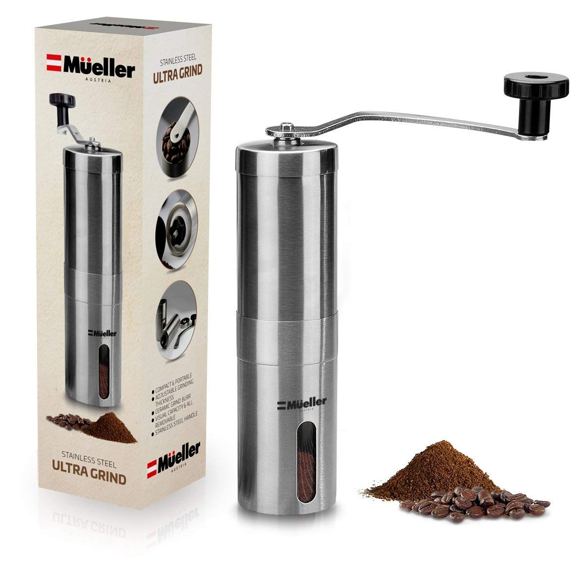 Mueller Ultra-Grind - Strongest and Heaviest Duty Portable Conical Burr Mill, Whole Bean Manual Coffee Grinder for French Press, Turkish, Handheld Mini, K Cup, Brushed Stainless Steel Mueller Austria
