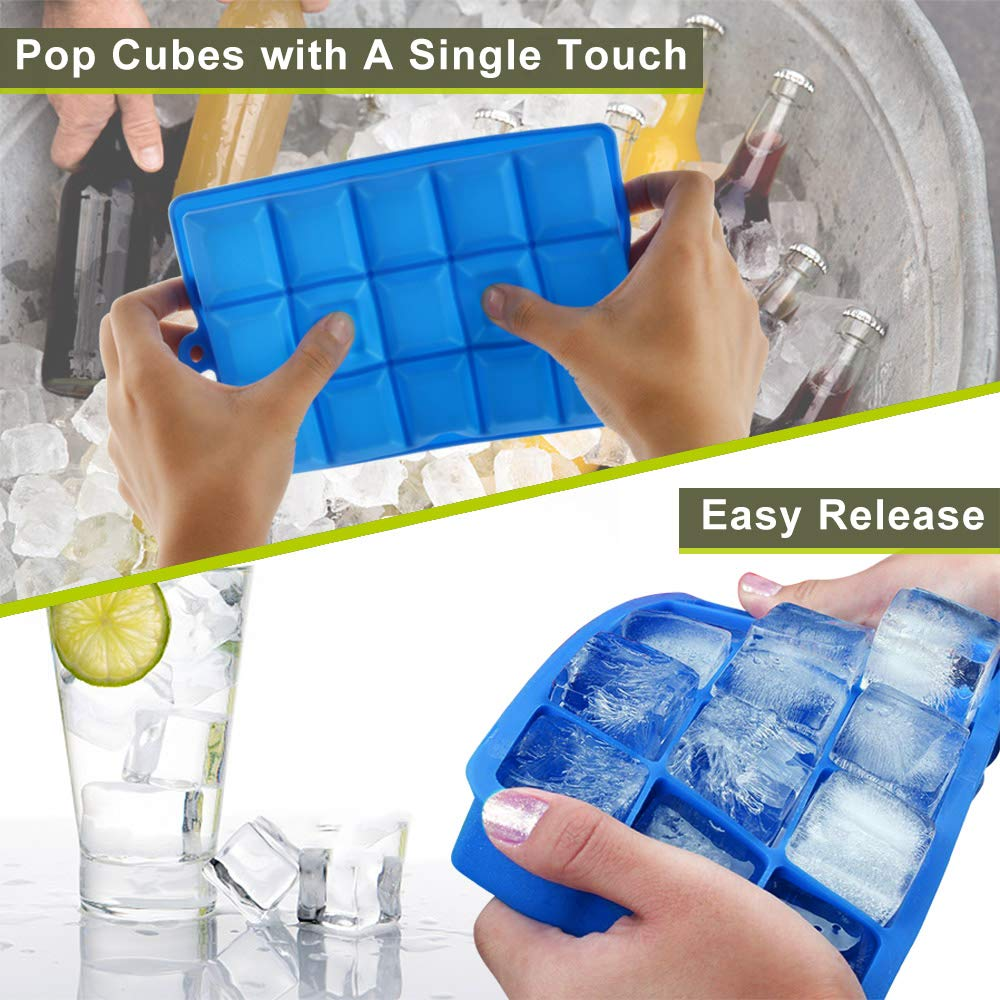 2-Pack Large Silicone Ice Cube Trays with Lids Easy Release Ice Cube Molds Set for Whiskey, Baby Food Silicone Cake Mold 15 Cavity