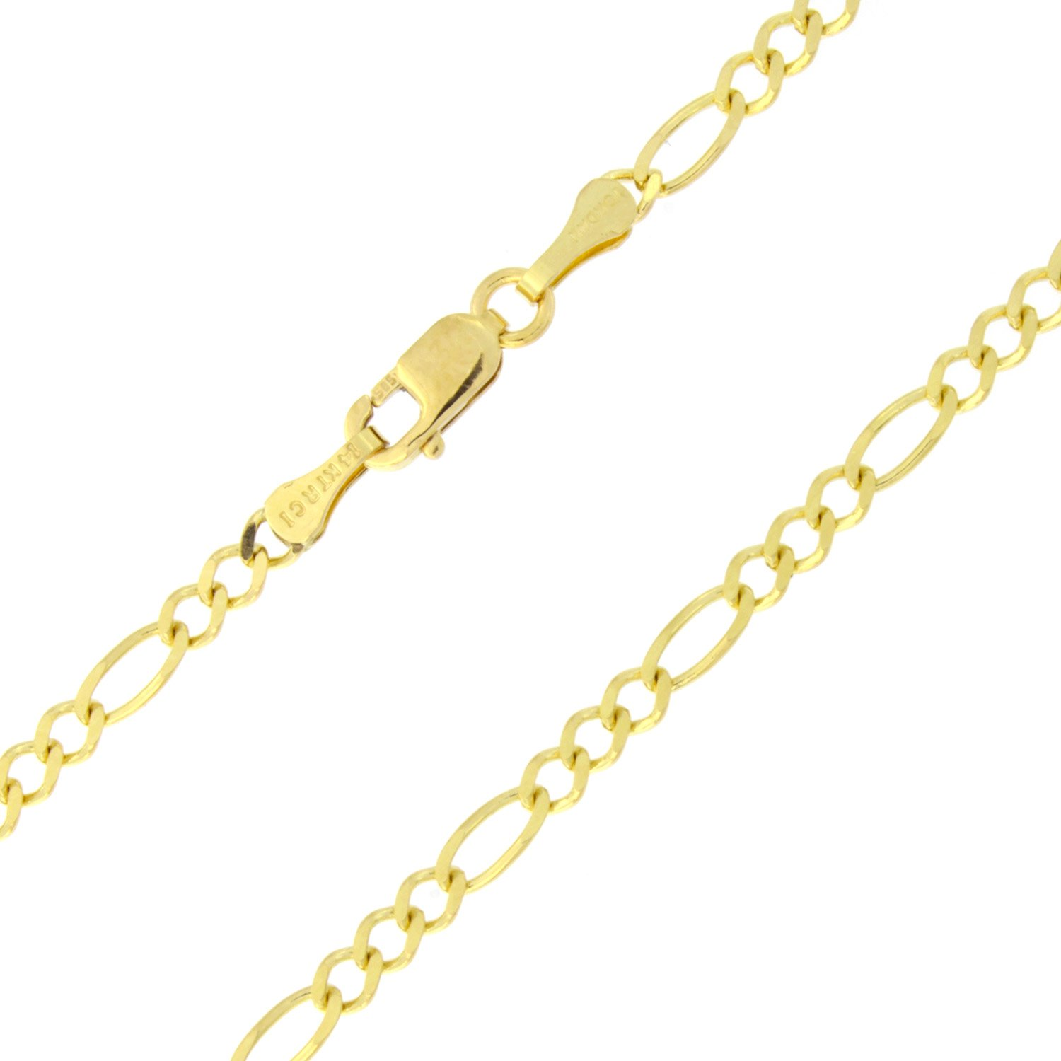14k Solid Yellow Gold 2.6mm Figaro Chain Anklet - 10''