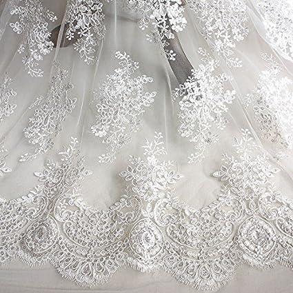 Wedding Dress Fabric.Amazon Com Iriz Ivory White Botanical Brach Sequins Embroidery