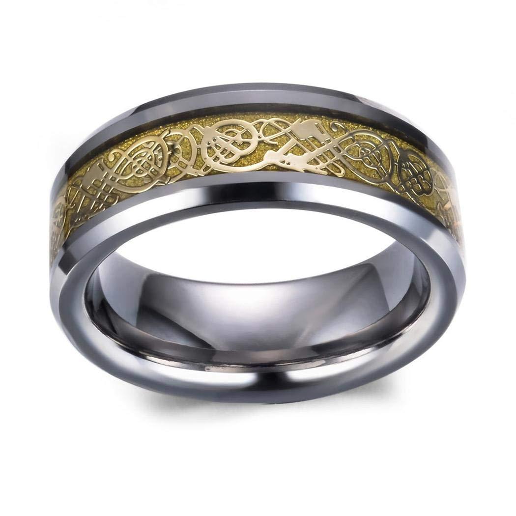 JEWURA Couple Love Ring Fashion Tungsten Jewelry Yellow Dragon Pattern