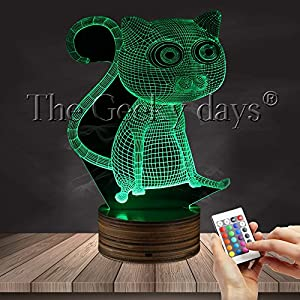 Kitty Cat Bedroom Sleepy Desk Lamp Animal Lovely Cat 3D Optical Illusion Table Lamp LED Night Light Color Changing LED Light with Remote Controller