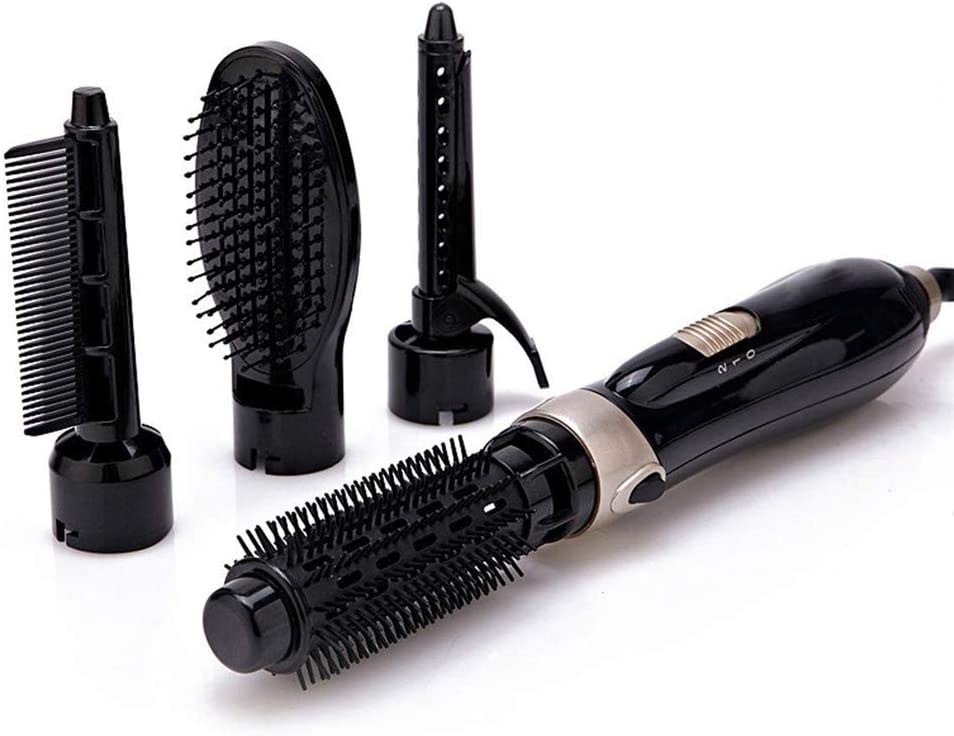 DYHQQ 4 en 1 secador de Pelo/rizador/alisador de brocha para peinar con Aire Caliente, Negro