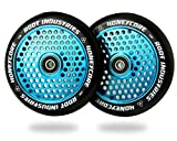 120mm Honeycore Pro Stunt Trick Kick Scooter Wheels (Pair) - Fast Hollowcore - Push Scooter Tires - 120mm Freestyle Speed Urethane - Fit Most Setups - 24mm x 120mm - Bearings (Black/Blue)