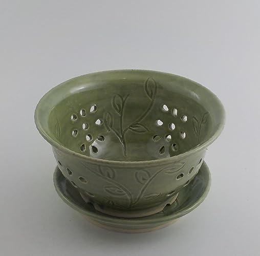 43553f8c78ff3 Amazon.com: Handmade Ceramic Berry Bowl - Stoneware Colander and ...