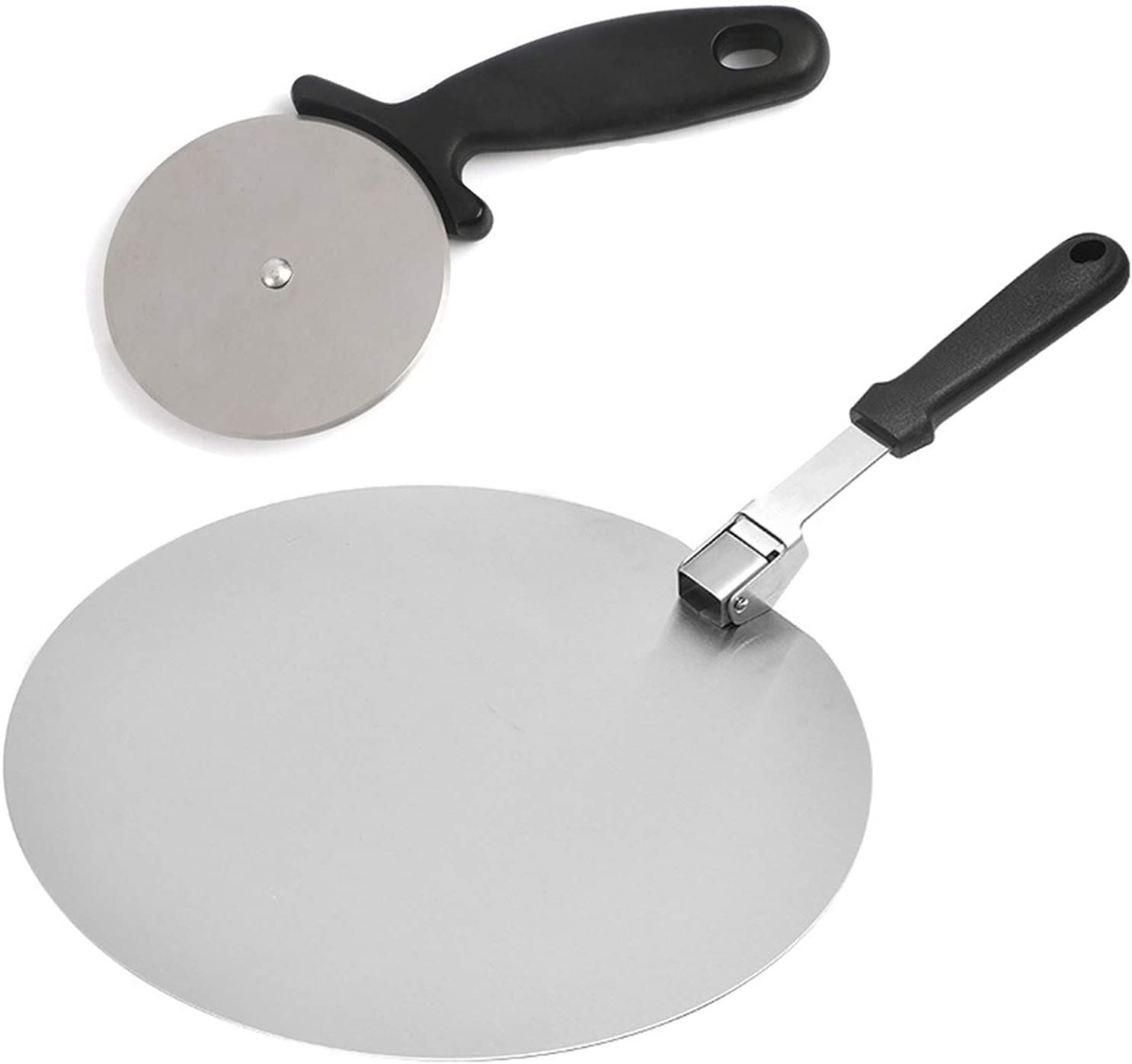 LVGADR Pizza Peels and Pizza Wheel, Round 12-Inch Baking Pizza Paddle Peel Shovel, Heat-Resistant Foldable Ergonomic Handle Oven Tools ,For Indoor and Outdoor Pastry, Pizza Spatula Cake Lifter(Black)