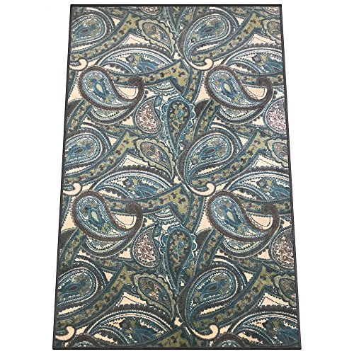 Silk & Sultans Agathe Collection Contemporary Blue Paisley Design, Pet Friendly, Non-Skid Area Rug with Rubber Backing,5'x7'Blue