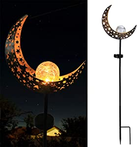 Moon Solar Lights Outdoor Metal Waterproof Crackle Glass Globe Stake Garden Decor for Pathway, Lawn, Patio, Yard Decorations