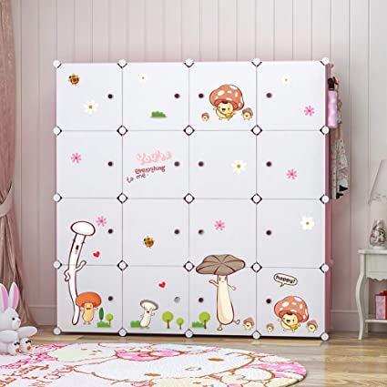 new styles b739d 3f521 YOZO Modular Kids Wardrobe Closet Portable Children Dresser Baby Portable  Closet Clothes Storage Organizer DIY Furniture, Blue, 16 Cubes