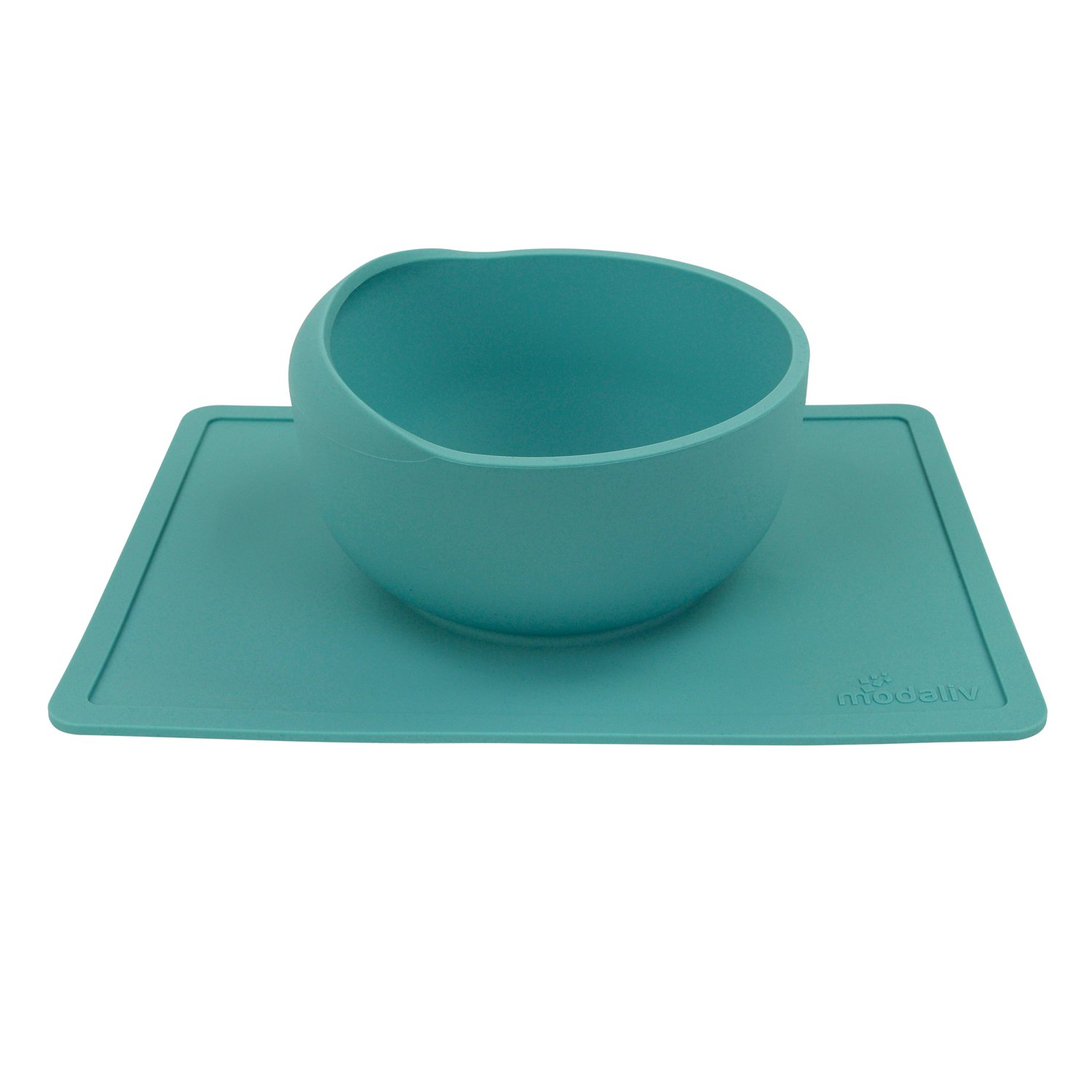 Scooper Bowl with Silicone Placemat Suction Base - Non-Skid - No Spill - Food Grade Silicone - Dishwasher and Microwave Safe - 33.8oz Large-Capacity Bowl by Modaliv