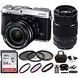 Fujifilm X-E3 Mirrorless Camera w/ XF18-55mm & 80mm Lens F2.8 R LM OIS WR Lens + Focus 64GB Camera Gadget Bag