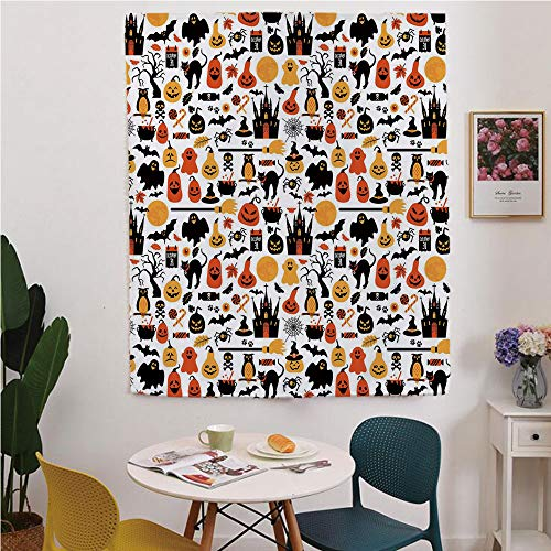 Halloween Blackout Window curtain,Free Punching Magic Stickers Curtain,Halloween Icons Collection Candies Owls Castles Ghosts October 31 Theme Decorative,for Living Room,study, kitchen, dormitory, -