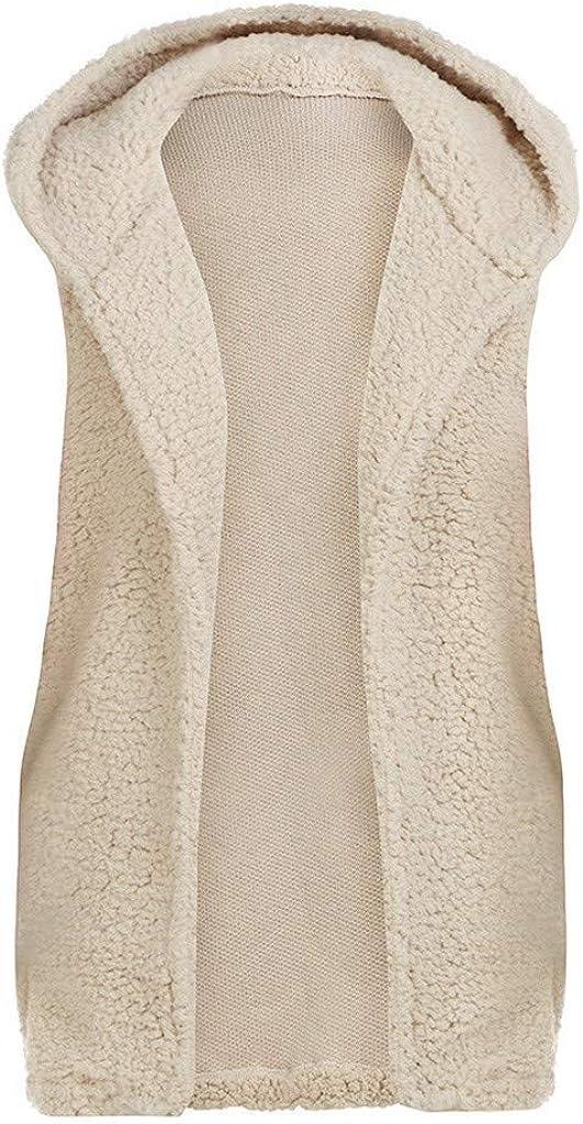 TAMALLU Womens Vest Winter Warm Hoodie Outwear Casual Coat Pocket Jacket Beige