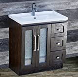 ELIMAX'S 30 Bathroom Vanity Solid Wood Cabinet Left Designed Ceramic Top Sink Faucet B3018.L (Espresso Oak-Unique Center) by ELIMAX'S