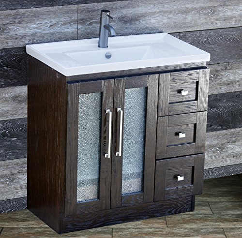 ELIMAX'S 30 Bathroom Vanity Solid Wood Cabinet Left Designed Ceramic Top Sink Faucet B3018.L (Espresso Oak-Unique Center) by ELIMAX'S by ELIMAX'S
