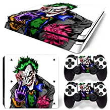 Ps4 Slim Playstation 4 Console Skin Decal Sticker The Joker + 2 Controller Skins Set (Slim Only)