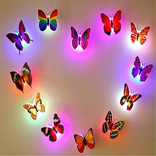 12 PCS Colorful Stick-on Mood Light LED Butterflies Night Light Wall/Window Sticker Toy for Kids Bedroom by Colleer