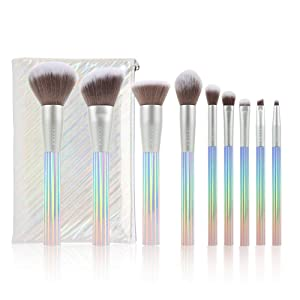 Docolor Makeup Brushes 9 Piece AURORA Makeup Brushes Set Premium Synthetic Kabuki Foundation Blending Face Powder Mineral Eyeshadow Make Up Brushes Set
