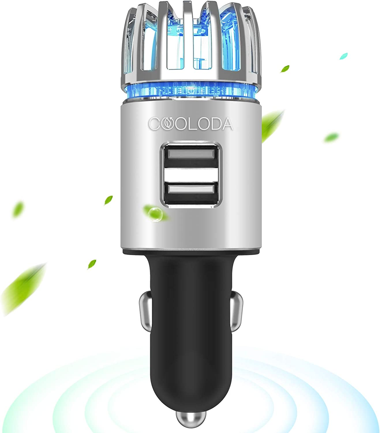 Car Air Purifiers, COOLODA Car Air Purifier Ionizer with Dual USB Charger 12V Plug in Air Fresheners Removes Cigarette Smoke, Pet and Food Odor for Car, Silver