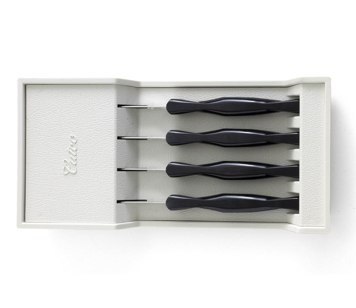 Cutco Model 1864 - Set of 4 (1759) Table Knives Plus (1745) Tray. 3.4'' Double-D Serrated Edge Blades With 5'' Classic Brown Handles (Sometimes Called Black) in Factory Sealed plastic Bags.