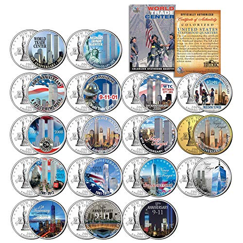 (WORLD TRADE CENTER All 17 Anniversaries NY State Quarters US 17-Coin Complete Set 9/11 WTC)