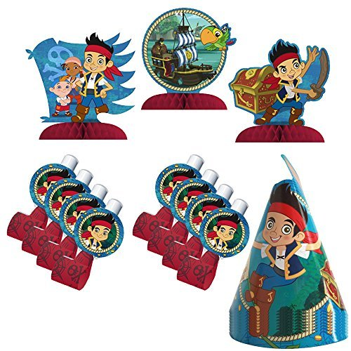 Jake & the Neverland Pirates Party Favors Pack Including Cone Hats, Blowouts and Centerpiece
