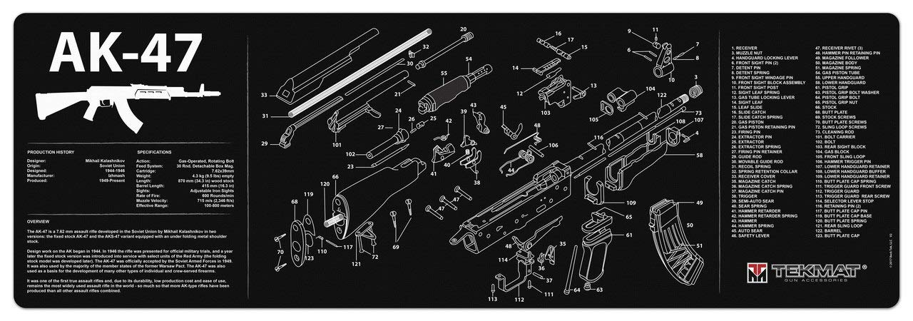 amazon com tekmat ak 47 cleaning mat 12 x 36 thick, durabletekmat ak 47 cleaning mat 12 x 36 thick, durable, waterproof long gun cleaning mat with parts diagram and instructions armorers bench mat black