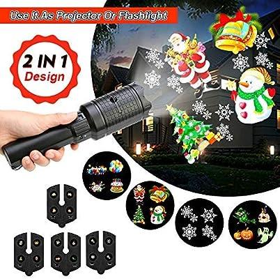 Luces LED de proyector de mano, funciona con pilas, 2 en 1, 12 ...
