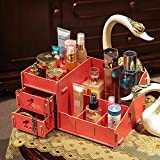 BeesClover Wooden Storage Box Jewelry Container Makeup Cosmetic Case Assembly Wood Box Drawers Jewelry Storage Box Watermelon red