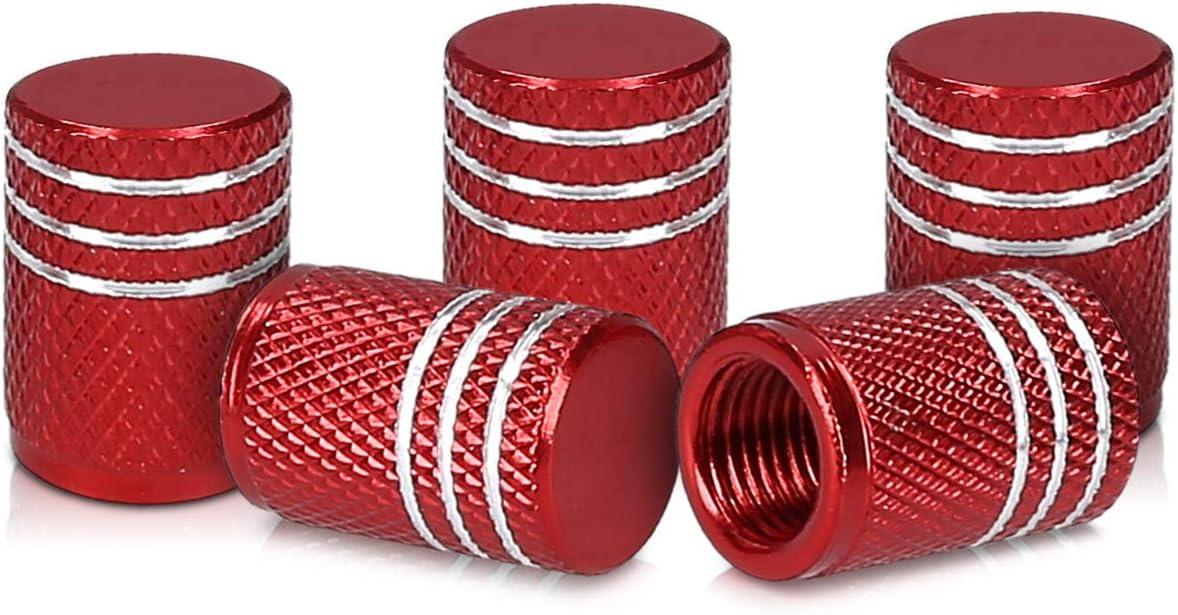 kwmobile Juego de Tapas Compatible con válvulas - Tapas de Metal para válvula de neumáticos de Coche y Bicicleta en Rojo/Plata