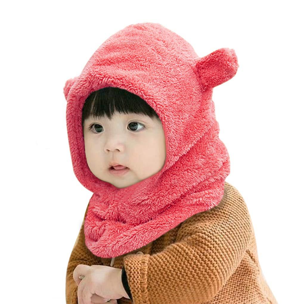 Infant Baby Kids 2 in 1 Warm Winter Hat Scarf Set Thick Fleece Earflap Hood Hat Scarves with Ears Winter Neck Warmer Earmuff Hat for Kids 6-24 months